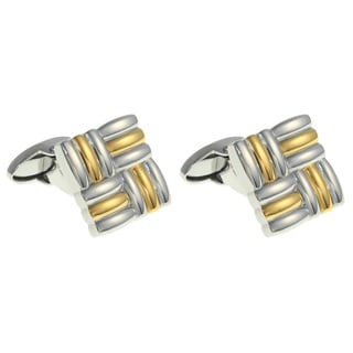 Stainless Steel Men's Gold-Tone Cuff Links