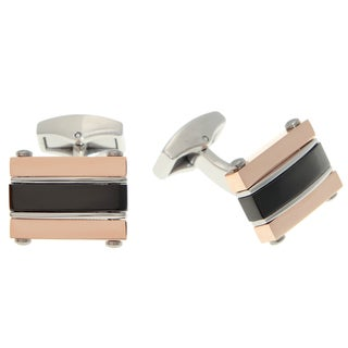 Stainless Steel Men's Two-tone Cuff Links