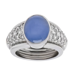Platinum 1 3/4ct TDW Diamond and Star Sapphire Estate Ring (H-I, VS1-VS2) (Size 6.25)