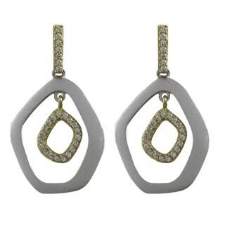 Luxiro Two-tone Matte Gold Finish Cubic Zirconia Geometric Dangle Earrings