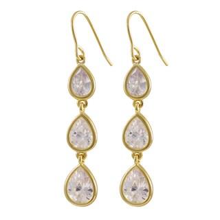 Luxiro Sterling Silver Gold Finish Cubic Zirconia Teardrop Dangle Earrings