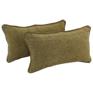 Blazing Needles Corded Gingham Brown Jacquard Chenille Rectangular Throw Pillows (Set of 2)