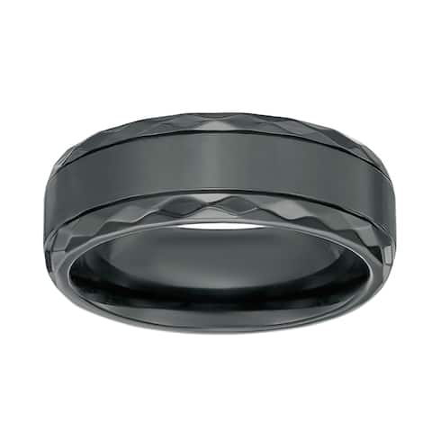 Men's Black Zirconium Ring with Diamond Pattern Edge