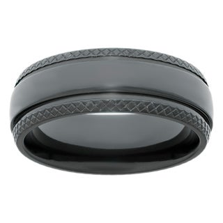 Men's Black Zirconium Ring with Textured Edge