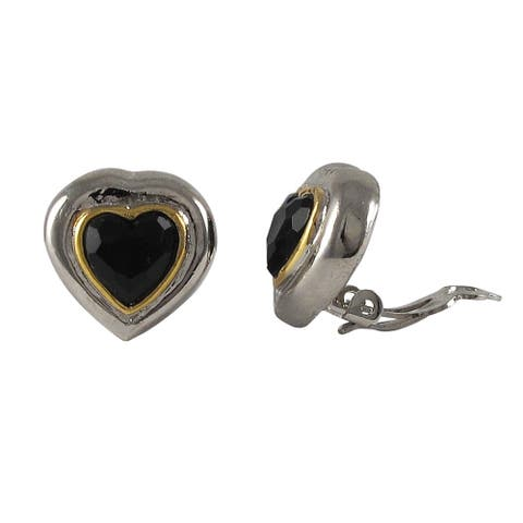 Luxiro Two-tone Rhodium and Gold Finish Black Crystal Heart Clip-on Earrings - Silver