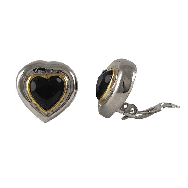 831f624916 Luxiro Two-tone Rhodium and Gold Finish Black Crystal Heart Clip-on  Earrings - Silver