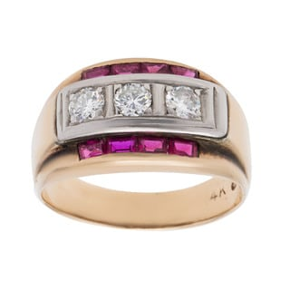 14k Yellow Gold 3/5ct TDW Diamond and Ruby Bar Estate Ring (G-H, VS1-VS2) (Size 10)
