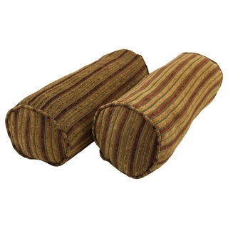 Blazing Needles Corded Autumn Stripes Jacquard Chenille Bolster Pillows (Set of 2)