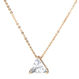 Stainless Steel Rose Gold Trillion Cut CZ Necklace