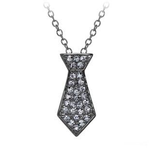 Brass Petite Grey Tie Necklace
