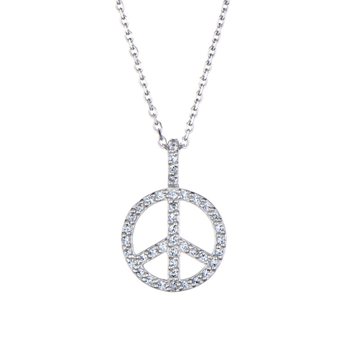 Sterling Silver Petite CZ Peace Sign Necklace (Peace Sign...