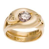 18k Yellow Gold 9/10ct TDW GIA-certified Colored Diamond Swirl Estate Ring (Size 6)