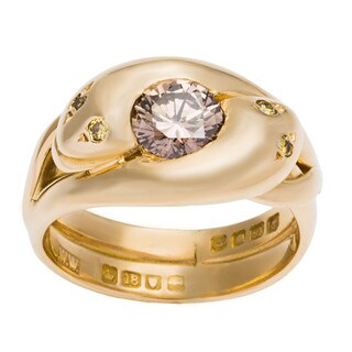 18k Yellow Gold 9/10ct TDW GIA-certified Colored Diamond Swirl Estate Ring (Size 6)