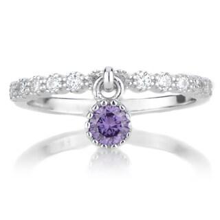 Sterling Silver Dangle Charm Birthstone Ring