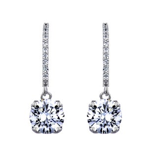 Rhodium-plated Round Cut Cubic Zirconia Leverback Dangling Earrings