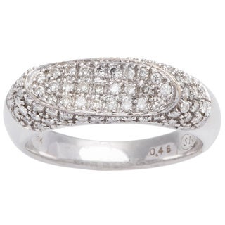 18k White Gold 1/2ct TDW Pave Top Diamond Band Estate Ring (H-I, I1-I2) (Size 6 )
