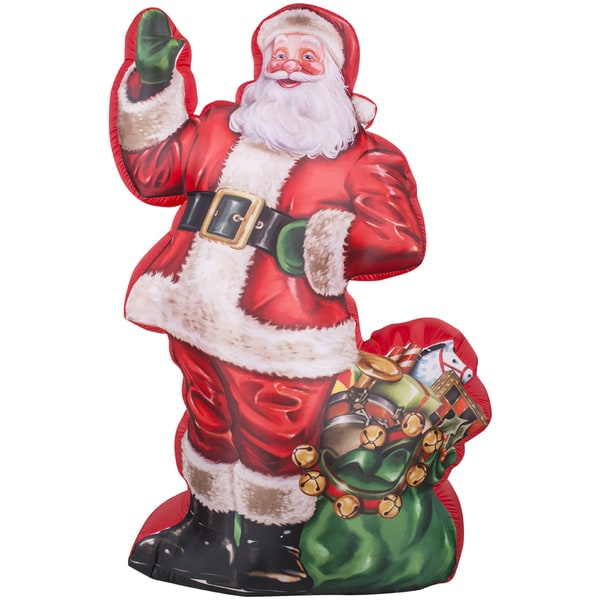 Shop Photorealistic Illustrated Santa with Gift Bag Indoor/ Outdoor Inflatable - Free Shipping Today - Overstock - 10476111