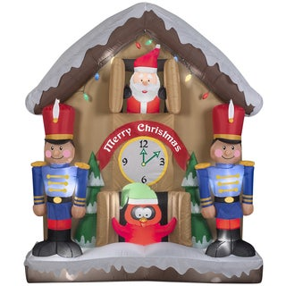Animated Santa and Nutcracker Inflatable Indoor/ Outdoor Clock Scene