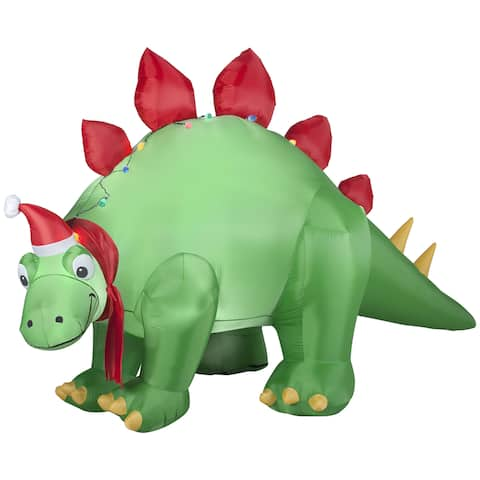 Holiday Stegosaurus with Santa Hat Indoor/ Outdoor Inflatable
