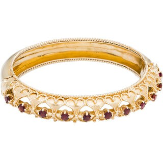 14k Yellow Gold Garnet Estate Bangle