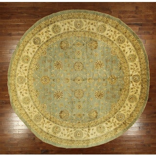 Floral Pakistani Chobi Peshawar Round Blue Hand-knotted Wool Rug (11' & Up)