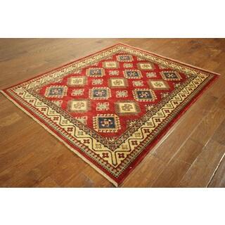 Bumblebee Garnet Red Kazak Hand-knotted Wool Geometric Rug (5' x 6')