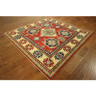 Saqure Candy Apple Red Kazak Hand-knotted Wool Geometric Area Rug (6', 6' x 6')