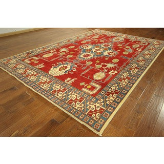 Hand-knotted Wool Vegetable Dyed Rug Rosso Corsa Geometric Kazak Rug (8' x 12')