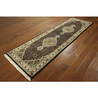 Hand-knotted Tabriz Fish Design Wool and Silk Black Oriental Rug (3' x 9')