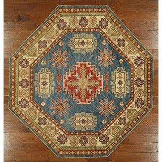 Traditional Oriental Kazak Octagon Hand-knotted Royal Blue Wool Rug (7', 7' x 7')
