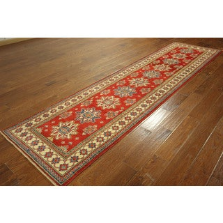 Mesa Geometric Hand-knotted Kazak Runner Siam Red and Ivory Rug (3' x 11')