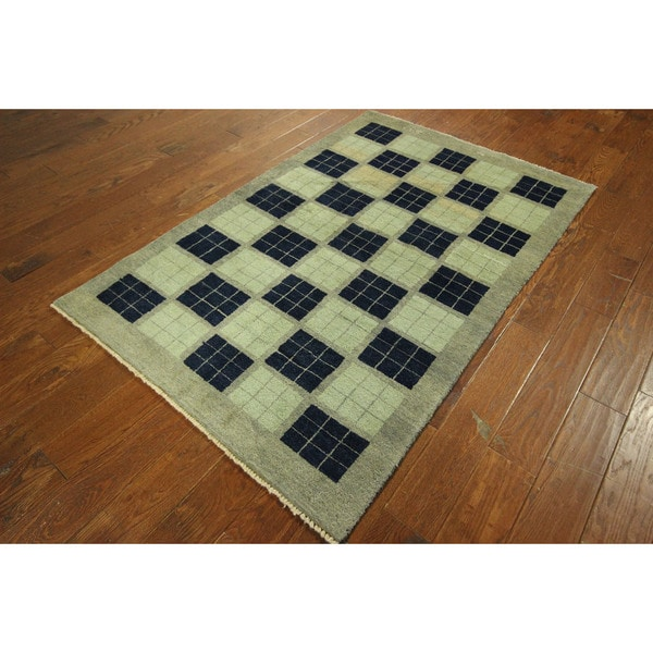 Checkerboard Area Rug: Unique Shades Of Blue Checkered Gabbeh Hand-knotted Wool