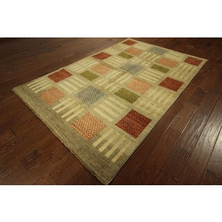 Checkered Multi-colored/ Ivory Gabbeh Hand-knotted Wool Oriental Area Rug (6' x 9')