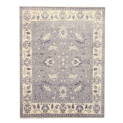 Hand-knotted Wool Gray Traditional Oriental Mono Rug - 9' x 12'