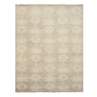 Hand-knotted Wool Gray Traditional Oriental Mono Rug (9' x 12') - 9' x 12'