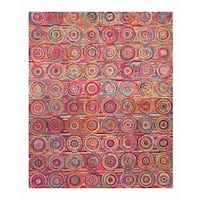 Hand-tufted Cotton Transitional Abstract Sari Circles Rug (7'9 x 9'9) - 7'9 x 9'9