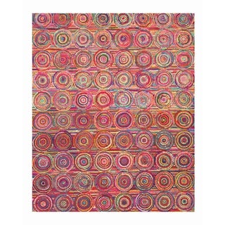 Hand-tufted Cotton Transitional Abstract Sari Circles Rug - 7'9 x 9'9