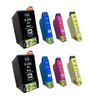 Epson T252XL Black Cyan Magenta Yellow Compatible Inkjet Cartridge for 3620 3640 7110 7610 7620 (Pack of 8)