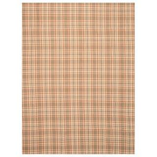 EORC Handmade Wool Brown Plaid Rug (8' x 10')