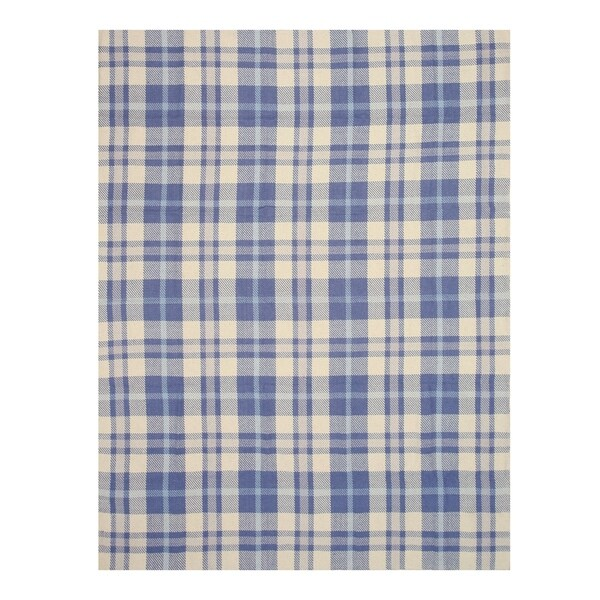 Handmade Wool Blue Transitional Geometric Plaid Rug - 8' x 10'