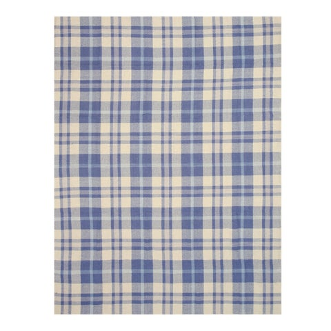 Handmade Wool Blue Transitional Geometric Plaid Rug - 8' x 10'