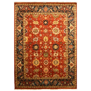 Hand-knotted Wool Rust Traditional Oriental Super Mahal Rug (2'6 x 8')