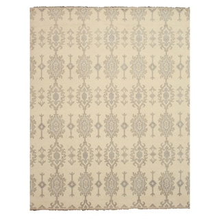 EORC Hand Knotted Wool Ivory Mono Rug (10' x 14')