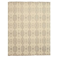 Hand-knotted Wool Ivory Traditional Oriental Mono Rug - 10' x 14'