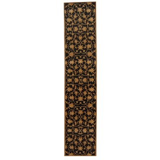 Herat Oriental Indo Hand-tufted Mahal Black/ Gold Wool Rug (2'4 x 11'3)