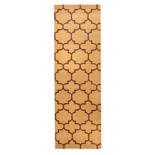 Herat Oriental Indo Hand-tufted Tibetan Light Brown/ Burgundy Wool Rug (2'6 x 8')