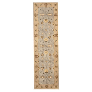 Herat Oriental Indo Hand-tufted Mahal Light Blue/ Beige Wool Rug (2'4 x 8'2)