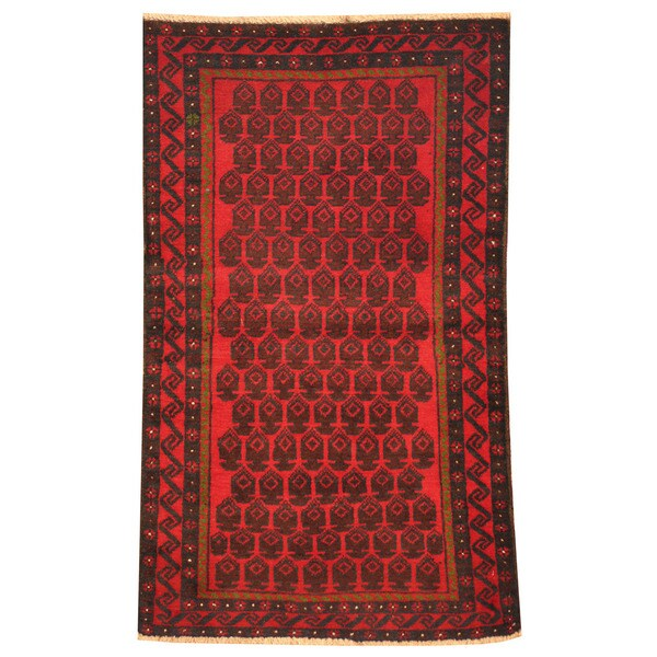 Herat Oriental Afghan Hand-knotted Tribal Balouchi Wool Rug (2'7 x 4'5)