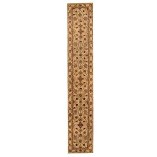 Herat Oriental Indo Hand-tufted Mahal Beige/ Red Wool Rug (2' x 12')