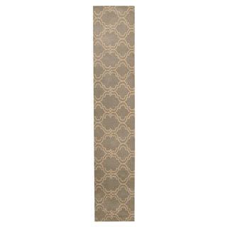 Herat Oriental Indo Hand-tufted Tibetan Green/ Ivory Wool Rug (2'3 x 12')